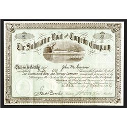 Submarine Boat and Torpedo Co., 1889 Stock Certificate.