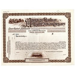 Monterey Railway Light and Power Co., ca.1900-1920 Specimen Stock Certificate