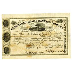 Georgia Rail Road & Banking Co., 1858 Issued Stock Certificate
