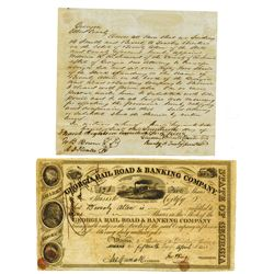 Georgia Rail Road & Banking Co., ca.1840-1860 Issued Stock Certificate