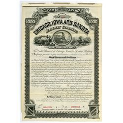Chicago, Iowa and Dakota Railway Co., 1882 Specimen Coupon Bond