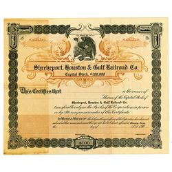 Shreveport, Houston & Gulf Railroad Co., ca.1906 Specimen Stock Certificate