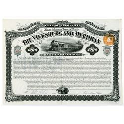 Vicksburg and Meridian Railroad Co. 1881 Issued Bond.
