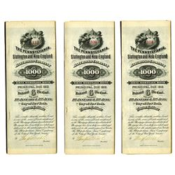Pennsylvania, Slatington and New England Rail Road Co., 1882 Bond Trio