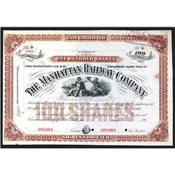 Manhattan Railway Co. 190x. Specimen Stock Certificate.