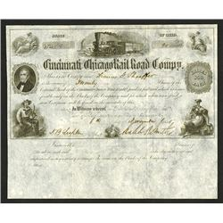Cincinnati and Chicago Rail Road Co., 1855 Issued Stock Certificate.