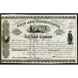 Ohio and Pennsylvania Railroad Co.,1854 Stock Certificate.