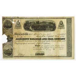 ALL-353,æAllegheny Railroad & Coal Co. 1855 Stock Certificate signed by Herman Haupt as President.