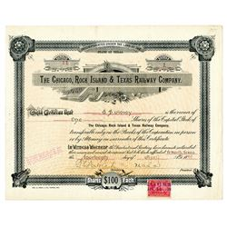 Chicago, Rock Island & Texas Railway Co., 1899 Issued Stock Certificate
