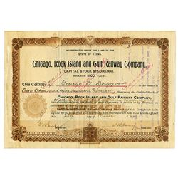Chicago, Rock Island and Gulf Railway Co., 1904 Issued Stock Certificate S/N 1.