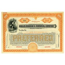Dallas Railway & Terminal Co., 1920 Specimen Stock Certificate