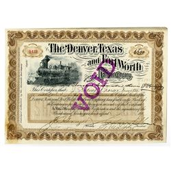 Denver, Texas and Fort Worth Railroad Co., ca.1880-1900 Issued Stock Certificate