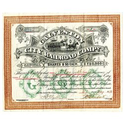 Galveston City Railroad Co., 1882 Issued and Uncancelled Stock Certificate.