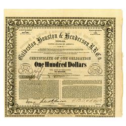 Galveston, Houston & Henderson R.R. Co., 1857 Issued Bond