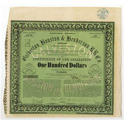 Galveston, Houston & Henderson Rail Road Co., 1857 Issued Bond