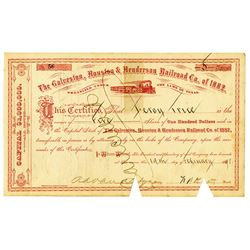 Galveston, Houston & Henderson Railroad Co., 1898 Issued Stock Certificate