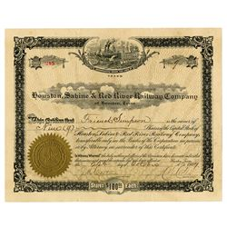 Houston, Sabine & Red River Railway Co., 1907 Issued Stock Certificate