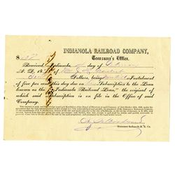 indianola Railroad Co., 1873 Issued and Cancelled Installment Subscription.