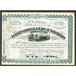 International and Great Northern Railroad Co., 1890 Issued/ Canceled Certificate