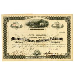 Missouri, Kansas, and Texas Extension Railway Co., 1880 Issued Stock Certificate.