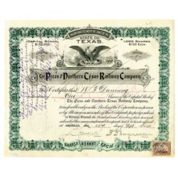 Pecos and Northern Texas Railway Co., 1898 Issued Stock Certificate.