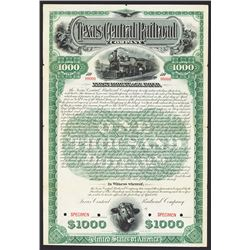 Texas Central Railroad Co. Specimen Bond.