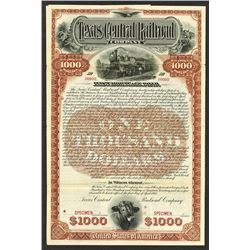 Texas Central Railroad Company Specimen Bond