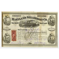 Maryland Steamboat Co., 1876 Cancelled Stock Certificate