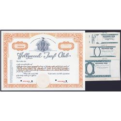 Hollywood Turf Club Stock Certificate and Hollywood Park Ticket Proofs.