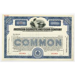 American Cigarette and Cigar Co., ca.1940-1950 Specimen Stock Certificate
