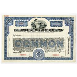 American Cigarette and Cigar Co., ca.1940-1950 Specimen Stock Certificate