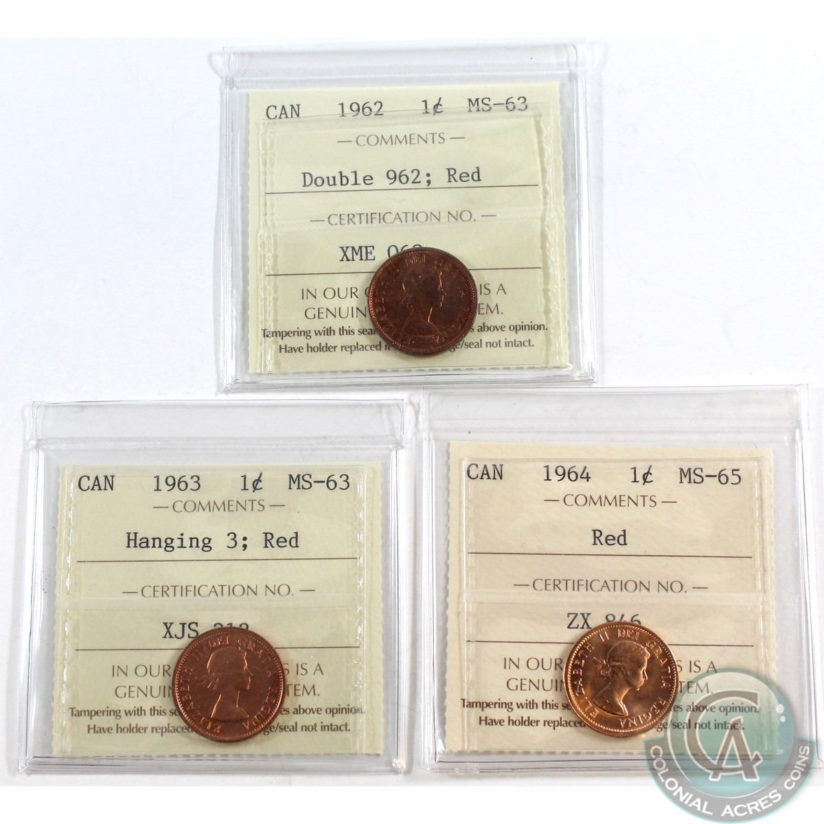 1963 Canada Penny Graded ICCS MS65