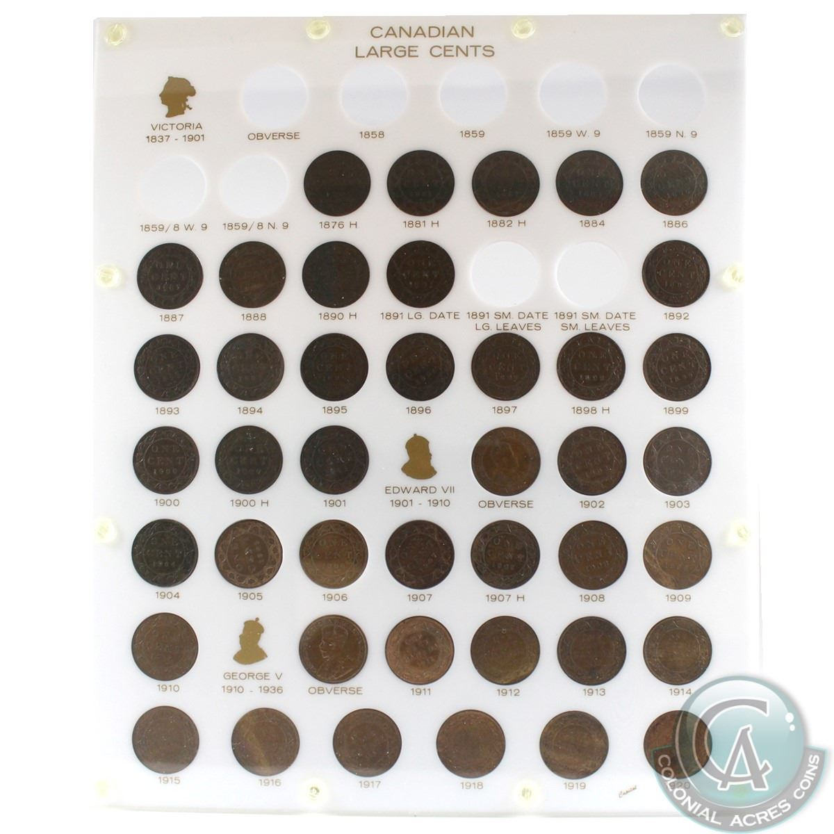 1876-1920 Canada Large cent Collection in a custom hard plastic capital  holder  You will receive one