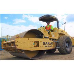 2006 SAKAI SV510D 84  SMOOTH DRUM DIESEL RIDE-ON ROLLER W/ISUZU MOTOR, 1408 HOURS