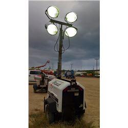 2012 ALLMAND NIGHT LIGHT 3657PRO212 LIGHT TOWER, 4000W, 7.5 KW GENERATOR W/KUBOTO MOTOR 1577 HRS