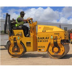 "2006 SAKAI MODEL SW320 39"" DOUBLE DRUM RIDE-ON DIESEL ROLLER, 1216 HOURS"