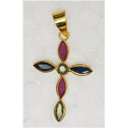 18KT YELLOW GOLD SAPPHIRE & RUBY CROSS  PENDANT