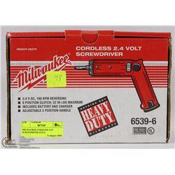 MILWAUKEE CORDLESS 2.4V SCREWDRIVER 6539-6