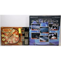 NEW DELUXE GLASS SIX IN 1 GAME SET CHESS,