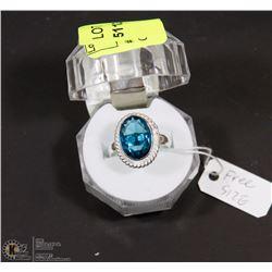 #33-LONDON  BLUE TOPAZ GEMSTONE RING