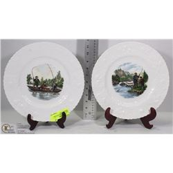 PAIR OF CURRIER & IVES QUEEN FINE BONE CHINA