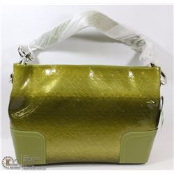 GREEN SNAKESKIN STYLE WITH BUCKLE HANDLE