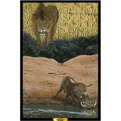 """LION IN WAIT"" LIMTIED EDITION S/N 20x30 GICLÉE CANVAS"