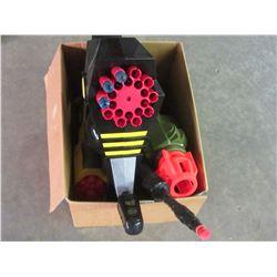Box of kids Nerf dart guns
