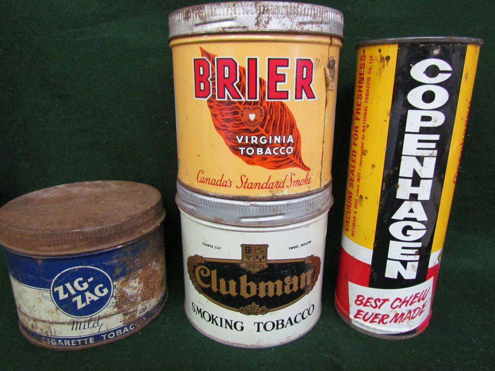 Copenhagen chew tin, Zig-Zag, Brier, Clubman tobacco tins