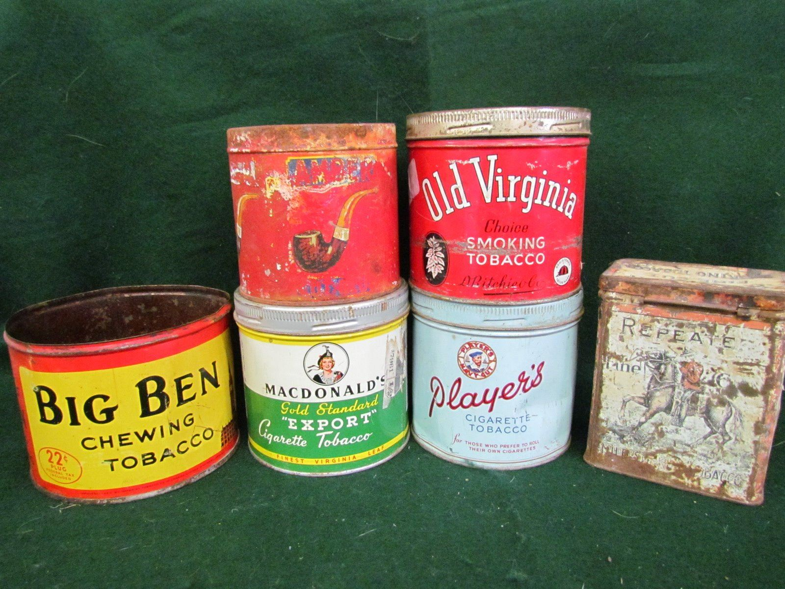 Repeater, Old Virginia, Player's, Macdonald's, Amber, Big Ben tobacco tins