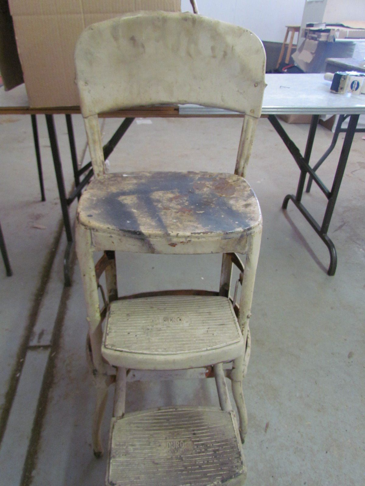 Antique Metal Step Stool Chair