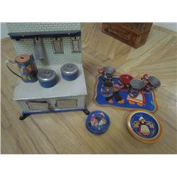 Tin stove, Tea set, Pans, etc. - Toys