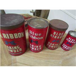 4 Blue ribbon tins