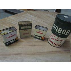 4 Nabob spice tins